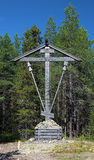 Wooden Cross on Bolshoy Solovetsky Island, Russia Royalty Free Stock Photo