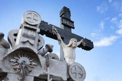 Wooden cross with Christ Royalty Free Stock Photography