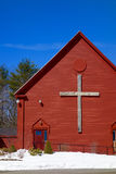 Wooden Cross on Christian Church, Red, White and Blue Patriotism Royalty Free Stock Image