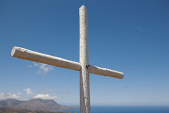 Wooden cross in a cretan graveyard. Greece Royalty Free Stock Images