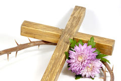 Wooden Cross Crown Of Thorns With Chrysanthnum Royalty Free Stock Photography