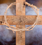 Wooden Cross and Crown of Thorns Stock Photos
