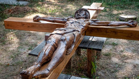 Wooden cross with crucified Jesus Christ Royalty Free Stock Photo