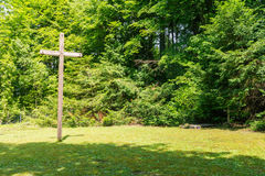 Wooden Cross in Forest Cemetary Graveyard Religious Christian St Royalty Free Stock Photo
