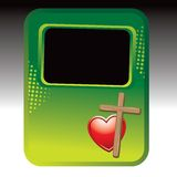Wooden cross and heart on green halftone ad Royalty Free Stock Photos