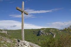 Wooden cross in Istarske Toplice Royalty Free Stock Images