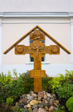 Wooden cross with Jesus Christ at the church of St. Panteleimon, Tver, Russia. Wooden cross with the image of Jesus Christ stock photos