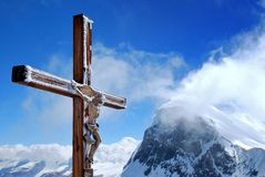 Wooden cross with Jesus Royalty Free Stock Images