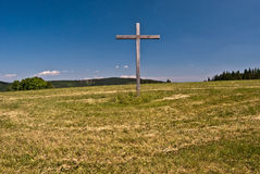Wooden cross on Loucka hill in Slezske Beskydy mountains Royalty Free Stock Image