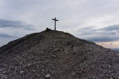 Wooden cross marks the summit of hohes Licht, Alps, germany. Wooden cross marks the summit of hohes Licht, Allgäu Alps, germany stock photos