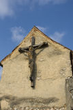 Wooden cross in the medieval fortress  Rasnov, Transylvania Royalty Free Stock Photos
