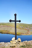 Wooden cross in the mountain Stock Image