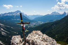 Wooden cross on mountain's top. Wooden cross standing on the of a mountain, Col Rosa, Cortina'dAmpezzo Royalty Free Stock Photo