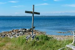 Wooden cross navigation on the Anzer Island. Wooden cross navigation on the White Sea Anzer Island, Cape Kenga stock image