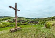 Free Wooden Cross Near Spring Rukomysh Cave Temple, Ternopil Region, Stock Photography - 112473382
