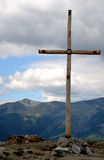 Mountain Wooden Cross  Royalty Free Stock Photo