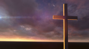 Wooden cross in night Stock Photography