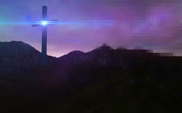 Wooden cross in night Royalty Free Stock Images