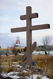 Wooden cross on old Pomeranian cemetery Royalty Free Stock Photo