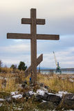 Wooden cross on old Pomeranian cemetery Stock Image