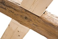 Wooden cross in old roof Royalty Free Stock Photos