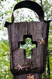 Wooden cross part of the tombstone Royalty Free Stock Photography