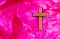 Wooden Cross Red Purple Stock Photography
