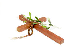 Wooden Cross With Rosary And Olive Branch Stock Image