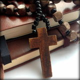 Wooden Cross Rosary Royalty Free Stock Image
