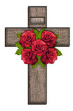 Wooden cross with roses Royalty Free Stock Photography