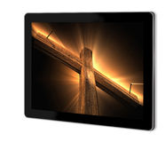 Wooden cross. On screen of tablet  made in 3d software Stock Photo
