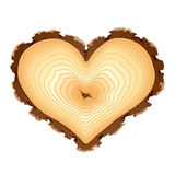 Wooden cross section of the heart shape Stock Images