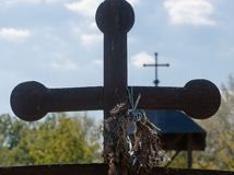 Wooden cross at the Serbian monastery royalty free stock photo