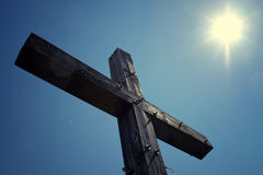 Wooden Cross. Shot with high contrast sky in background Royalty Free Stock Photo