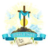 Wooden cross with shroud, bible and doves. Happy Easter concept illustration or greeting card. Religious symbols of. Faith Royalty Free Stock Photography