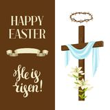 Wooden cross with shroud, lily, crown of thorns. Happy Easter concept illustration or greeting card. Religious symbols. Of faith Stock Photos
