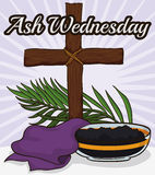 Wooden Cross, Stole, Palm Branch and Bowl for Ash Wednesday, Vector Illustration Stock Photos