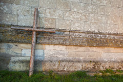 Wooden cross and stone Royalty Free Stock Photos