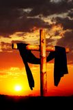 Wooden Cross on Sunset Stock Photography