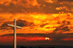 Wooden Cross and Sunset royalty free stock photo