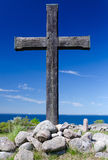 Wooden cross on Swedish coast Stock Image