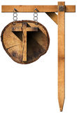 Wooden Cross on Tree Trunk with Chain Stock Images