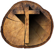 Wooden Cross on Tree Trunk Stock Image