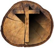 Wooden Cross on Tree Trunk Stock Image