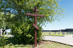 Wooden cross. VOLGOGRAD, RUSSIA - July 6, 2016: A wooden cross at the military, soldier's cemetery the dead during World War II (Great Patriotic War) of war in Royalty Free Stock Photos