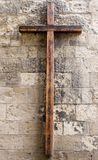 Wooden Cross on Wall Royalty Free Stock Images