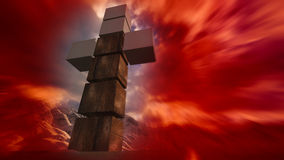 Wooden cross in water. Made in 3d software Stock Images