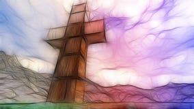 Wooden cross in water Stock Image