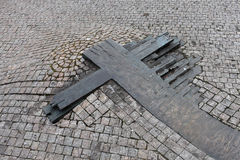 Wooden cross on Wenceslas Square Stock Photography