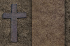 Wooden cross on wooden board Royalty Free Stock Photography
